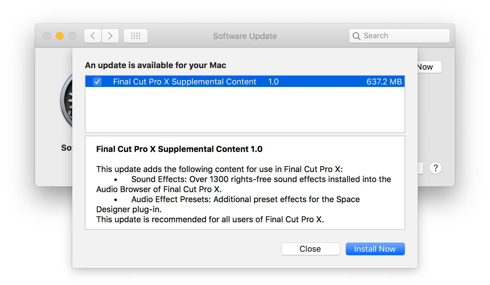 """How to hide """"Final Cut Pro X Supplemental Content"""" update on"""